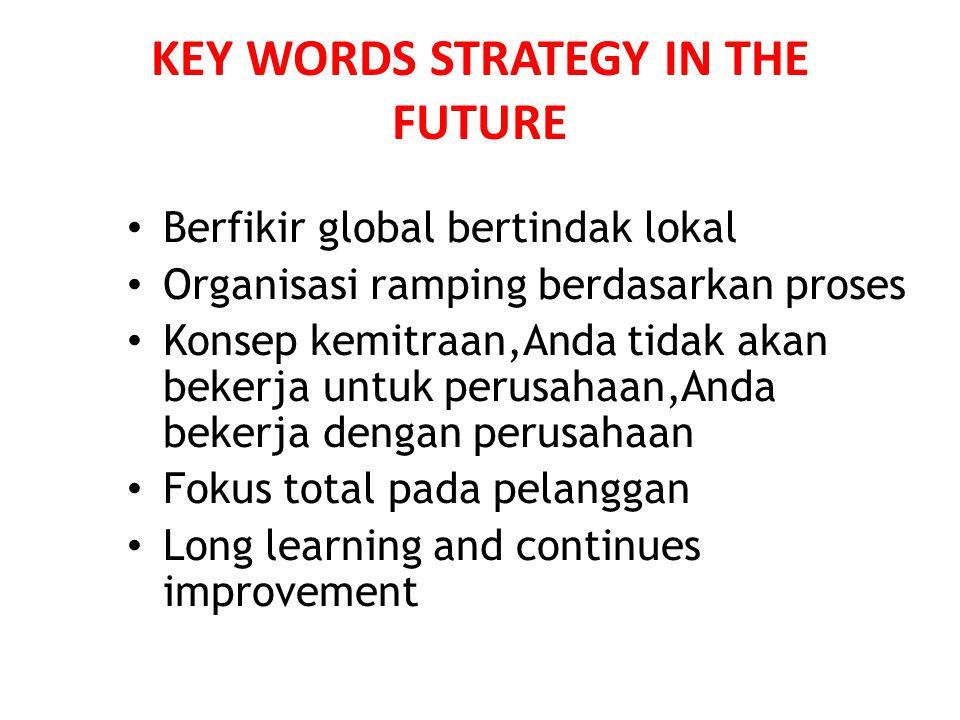 KEY WORDS STRATEGY IN THE FUTURE • Berfikir global bertindak lokal • Organisasi ramping berdasarkan proses • Konsep kemitraan,Anda tidak akan bekerja