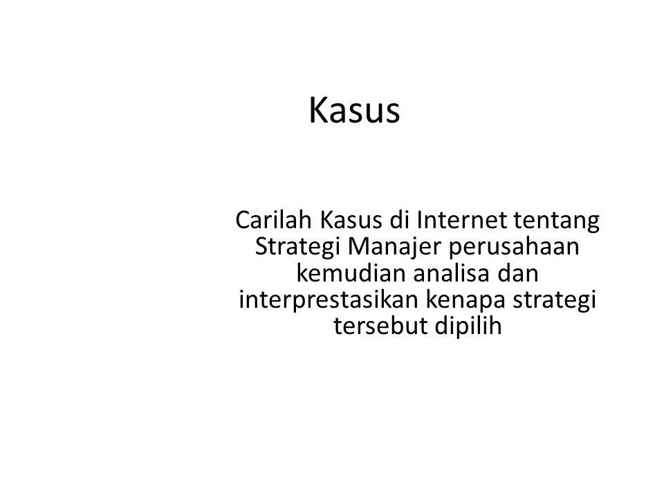 Kasus Carilah Kasus di Internet tentang Strategi Manajer perusahaan kemudian analisa dan interprestasikan kenapa strategi tersebut dipilih