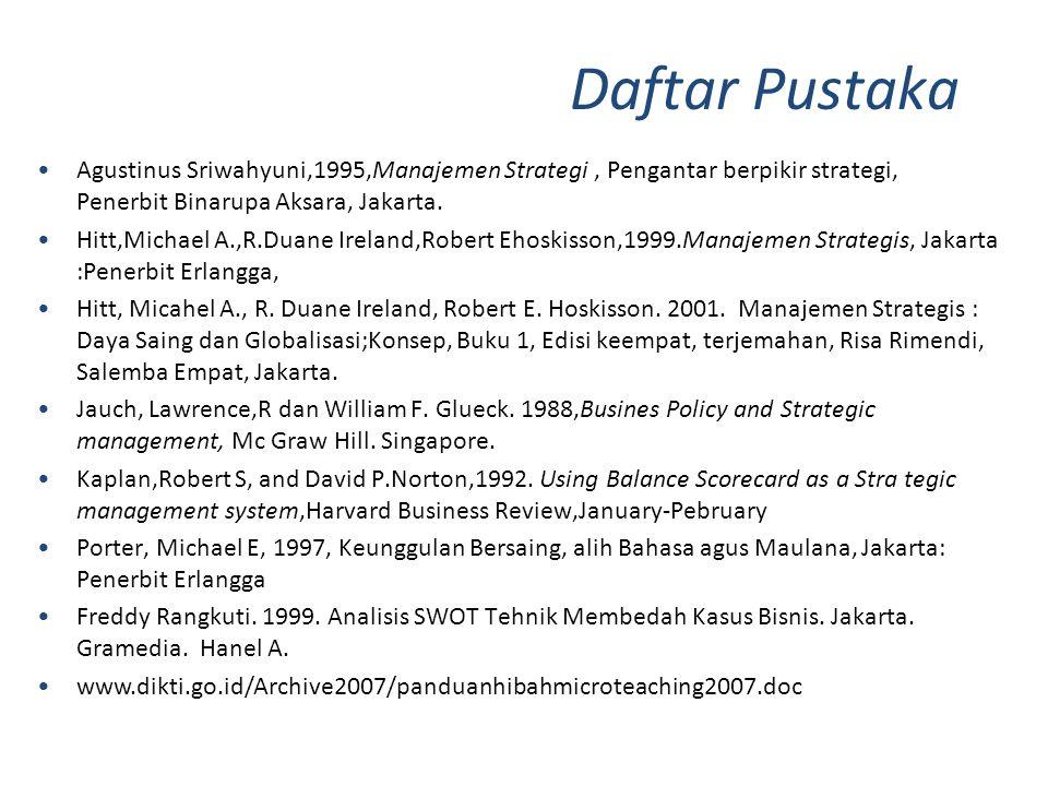 •Agustinus Sriwahyuni,1995,Manajemen Strategi, Pengantar berpikir strategi, Penerbit Binarupa Aksara, Jakarta. •Hitt,Michael A.,R.Duane Ireland,Robert