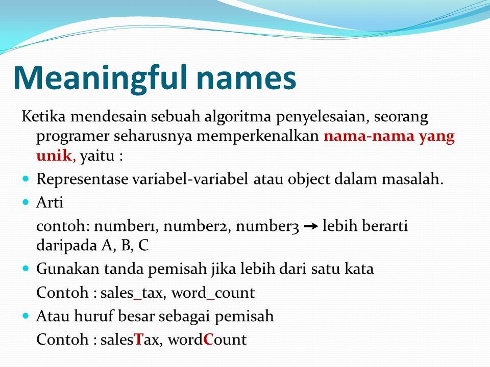 Meaningful names Ketika mendesain sebuah algoritma penyelesaian, seorang programer seharusnya memperkenalkan nama-nama yang unik, yaitu :  Representase variabel-variabel atau object dalam masalah.