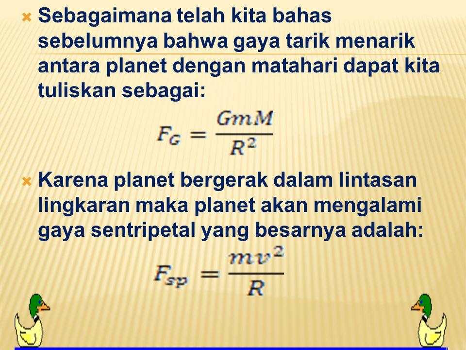  Untuk menjelaskan hal ini kita dapat melakukan pendekatan bahwa orbit planet adalah lingkaran dan matahari terletak pada pusatnya.