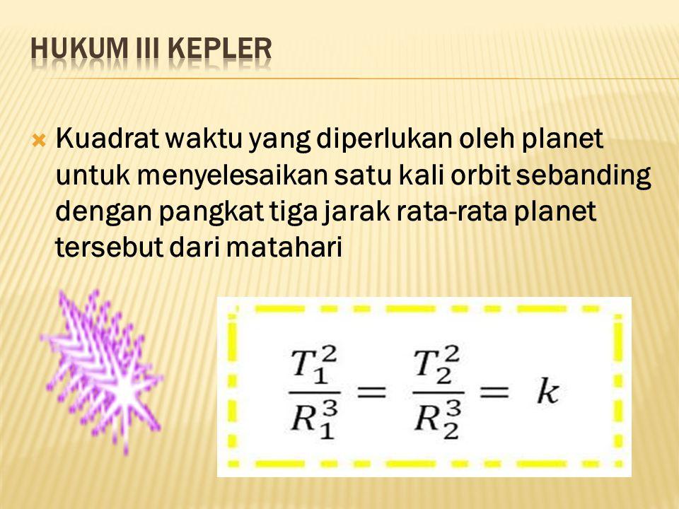  Konsekuensinya adalah ketika planet dekat dengan matahari, planet itu akan bergerak relatif cepat daripada ketika planet tersebut berada jauh dari matahari.
