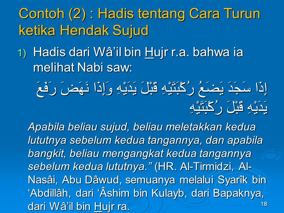 Contoh (2) : Hadis tentang Cara Turun ketika Hendak Sujud 1) Hadis dari Wâ'il bin Hujr r.a.