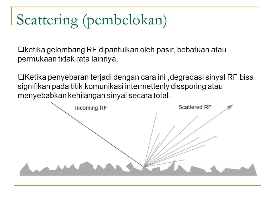 Scattering (pembelokan)  ketika gelombang RF dipantulkan oleh pasir, bebatuan atau permukaan tidak rata lainnya,  Ketika penyebaran terjadi dengan cara ini,degradasi sinyal RF bisa signifikan pada titik komunikasi intermettenly dissporing atau menyebabkan kehilangan sinyal secara total.