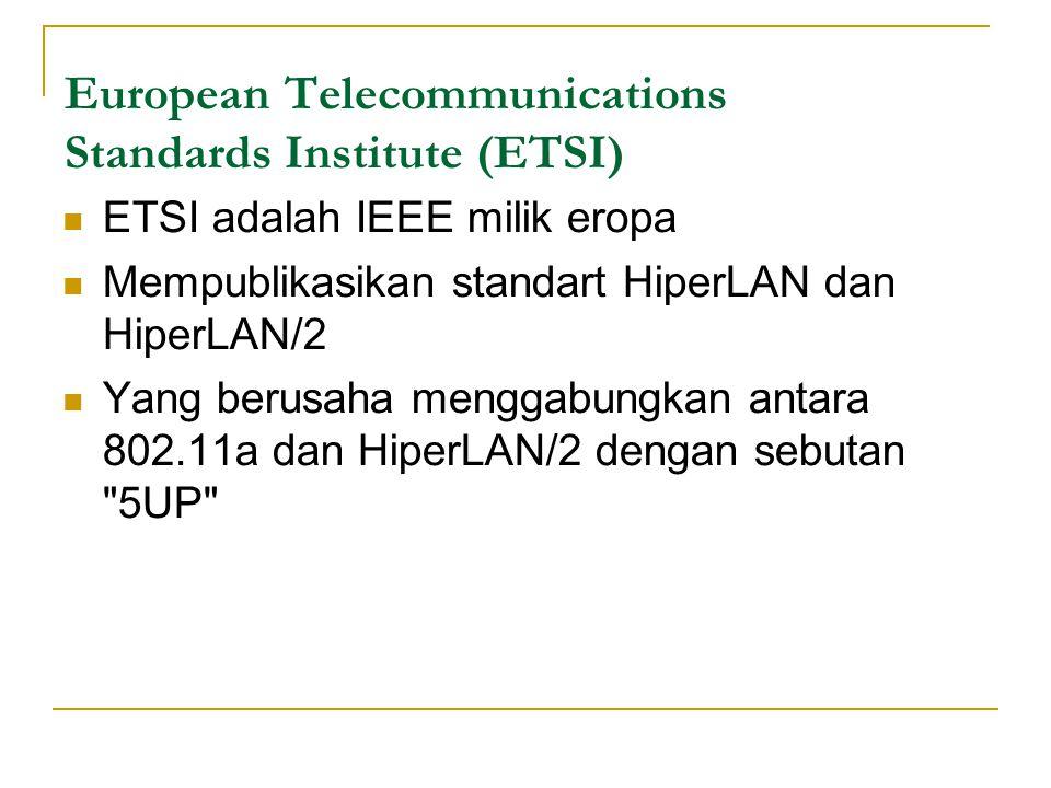 European Telecommunications Standards Institute (ETSI)  ETSI adalah IEEE milik eropa  Mempublikasikan standart HiperLAN dan HiperLAN/2  Yang berusaha menggabungkan antara 802.11a dan HiperLAN/2 dengan sebutan 5UP