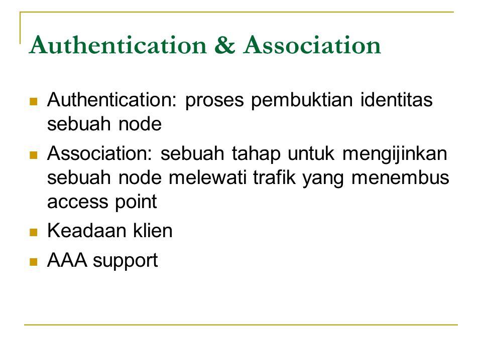 Authentication & Association  Authentication: proses pembuktian identitas sebuah node  Association: sebuah tahap untuk mengijinkan sebuah node melewati trafik yang menembus access point  Keadaan klien  AAA support