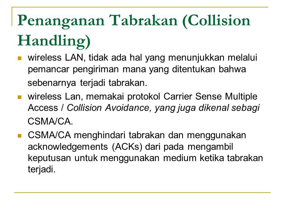 Penanganan Tabrakan (Collision Handling)  wireless LAN, tidak ada hal yang menunjukkan melalui pemancar pengiriman mana yang ditentukan bahwa sebenarnya terjadi tabrakan.
