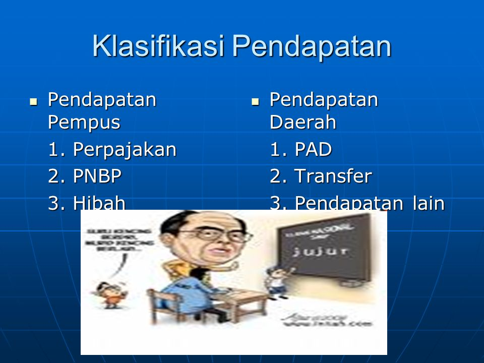 Klasifikasi Pendapatan  Pendapatan Pempus 1. Perpajakan 2. PNBP 3. Hibah  Pendapatan Daerah 1. PAD 2. Transfer 3. Pendapatan lain