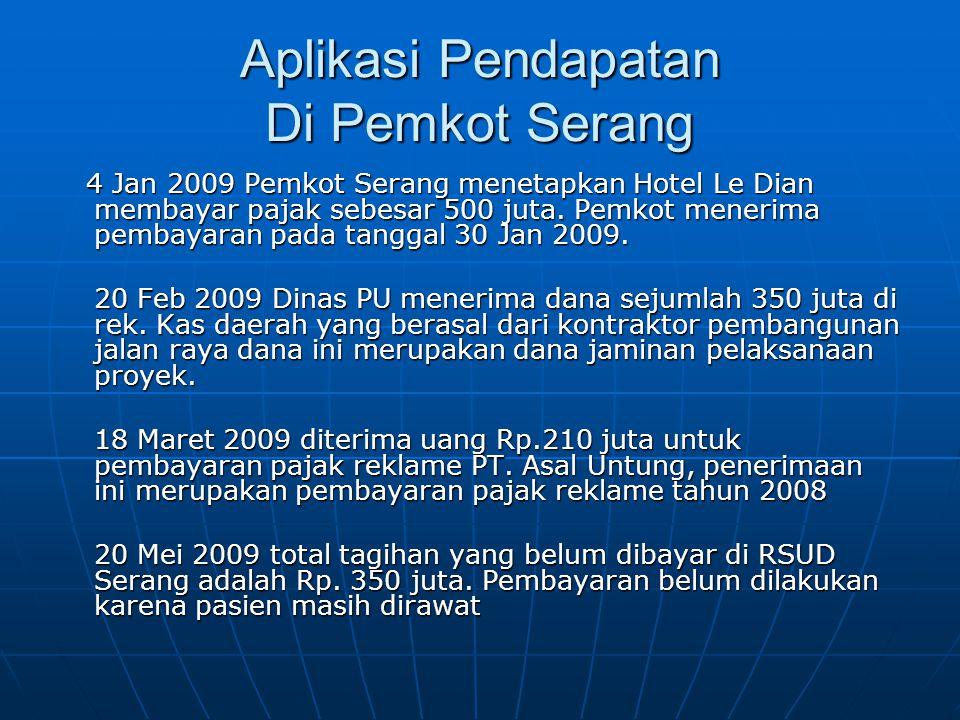 Aplikasi Pendapatan Di Pemkot Serang 4 Jan 2009 Pemkot Serang menetapkan Hotel Le Dian membayar pajak sebesar 500 juta. Pemkot menerima pembayaran pad