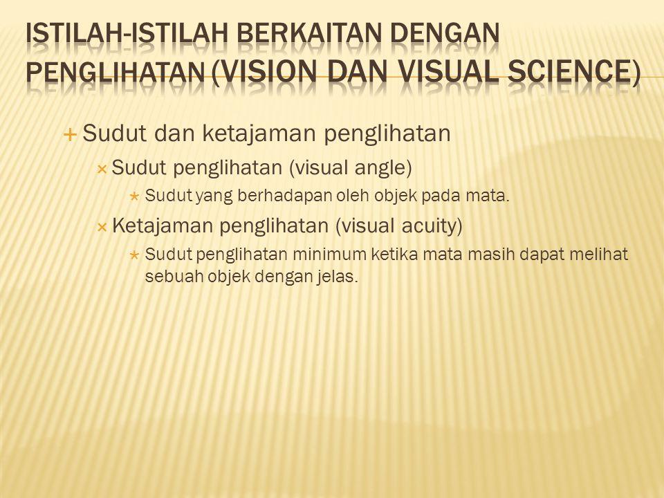  Sudut dan ketajaman penglihatan  Sudut penglihatan (visual angle)  Sudut yang berhadapan oleh objek pada mata.  Ketajaman penglihatan (visual acu