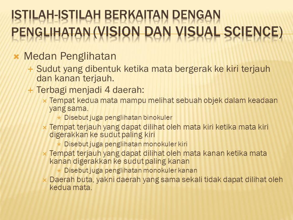  Medan Penglihatan  Sudut yang dibentuk ketika mata bergerak ke kiri terjauh dan kanan terjauh.  Terbagi menjadi 4 daerah:  Tempat kedua mata mamp