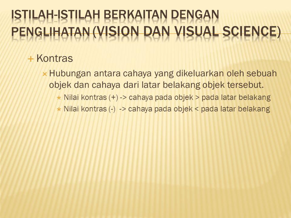  Kontras  Hubungan antara cahaya yang dikeluarkan oleh sebuah objek dan cahaya dari latar belakang objek tersebut.  Nilai kontras (+) -> cahaya pad