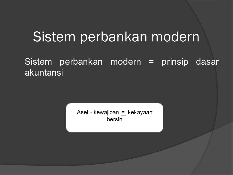 Sistem perbankan modern Sistem perbankan modern = prinsip dasar akuntansi Aset - kewajiban = kekayaan bersih
