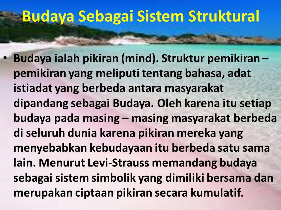 Budaya Sebagai Sistem Struktural • Budaya ialah pikiran (mind). Struktur pemikiran – pemikiran yang meliputi tentang bahasa, adat istiadat yang berbed