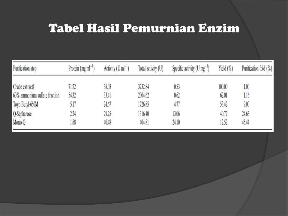 Tabel Hasil Pemurnian Enzim