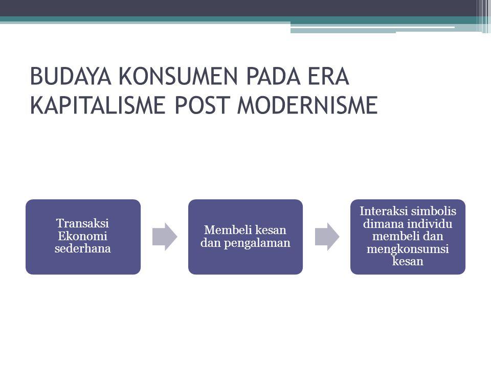 BUDAYA KONSUMEN PADA ERA KAPITALISME POST MODERNISME (Cont) •Perilaku konsumsi post modernisme: 1.