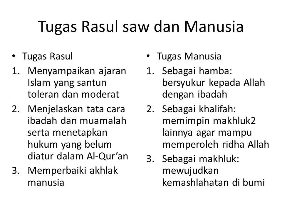 Tugas Rasul saw dan Manusia • Tugas Rasul 1.Menyampaikan ajaran Islam yang santun toleran dan moderat 2.Menjelaskan tata cara ibadah dan muamalah sert