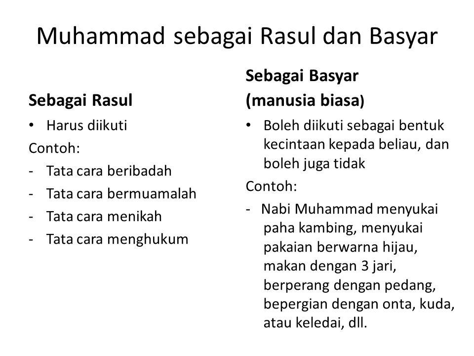 Muhammad sebagai Rasul dan Basyar Sebagai Rasul • Harus diikuti Contoh: -Tata cara beribadah -Tata cara bermuamalah -Tata cara menikah -Tata cara meng