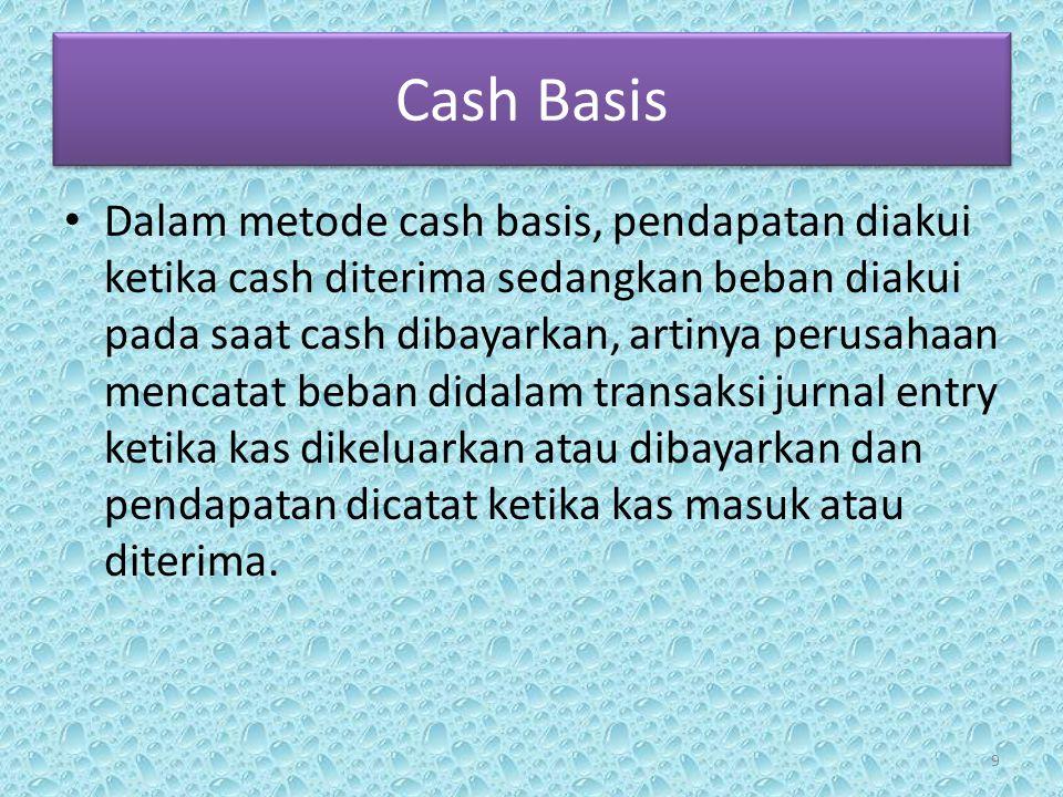 Cash Basis • Didalam metode cash basis beban tidak diakui sampai uang dibayarkan walaupun beban terjadi terjadi pada bulan itu.