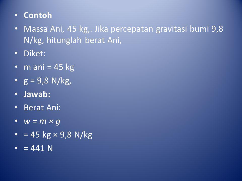 • Contoh • Massa Ani, 45 kg,. Jika percepatan gravitasi bumi 9,8 N/kg, hitunglah berat Ani, • Diket: • m ani = 45 kg • g = 9,8 N/kg, • Jawab: • Berat