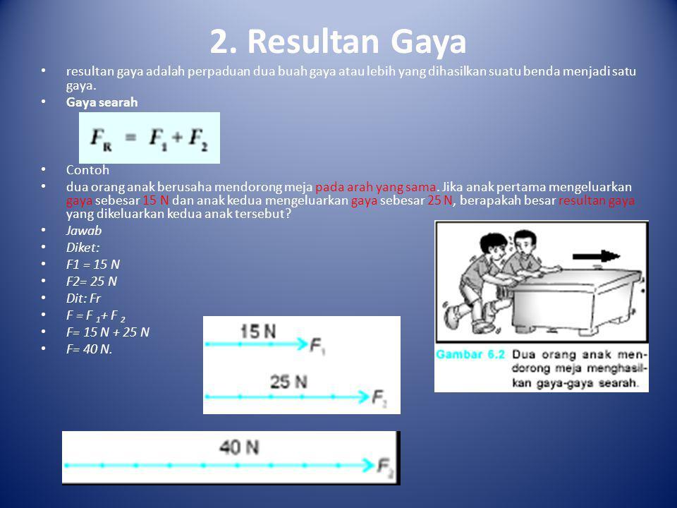 2. Resultan Gaya • resultan gaya adalah perpaduan dua buah gaya atau lebih yang dihasilkan suatu benda menjadi satu gaya. • Gaya searah • Contoh • dua