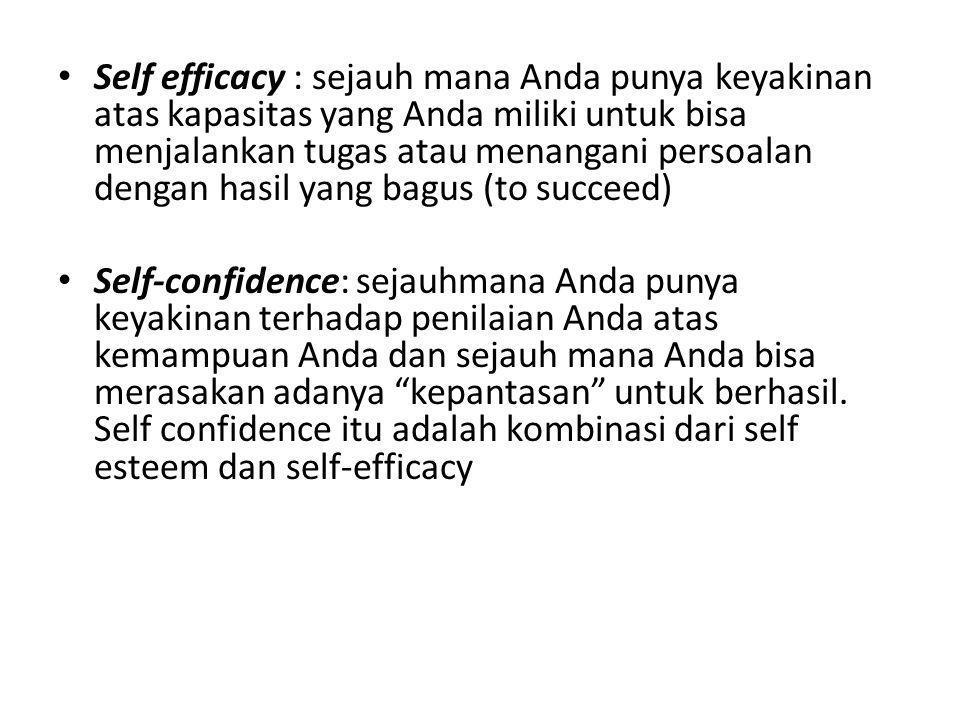 • Self efficacy : sejauh mana Anda punya keyakinan atas kapasitas yang Anda miliki untuk bisa menjalankan tugas atau menangani persoalan dengan hasil
