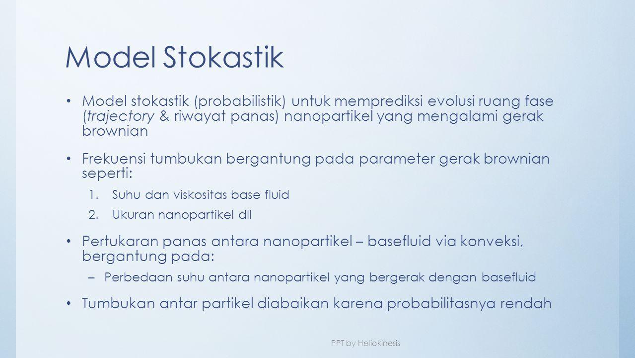 Model Stokastik • Model stokastik (probabilistik) untuk memprediksi evolusi ruang fase (trajectory & riwayat panas) nanopartikel yang mengalami gerak