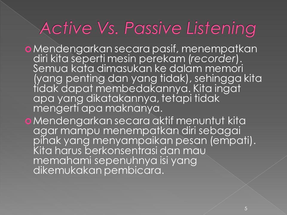 Mendengarkan secara pasif, menempatkan diri kita seperti mesin perekam (recorder). Semua kata dimasukan ke dalam memori (yang penting dan yang tidak),