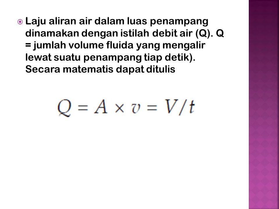  Laju aliran air dalam luas penampang dinamakan dengan istilah debit air (Q).