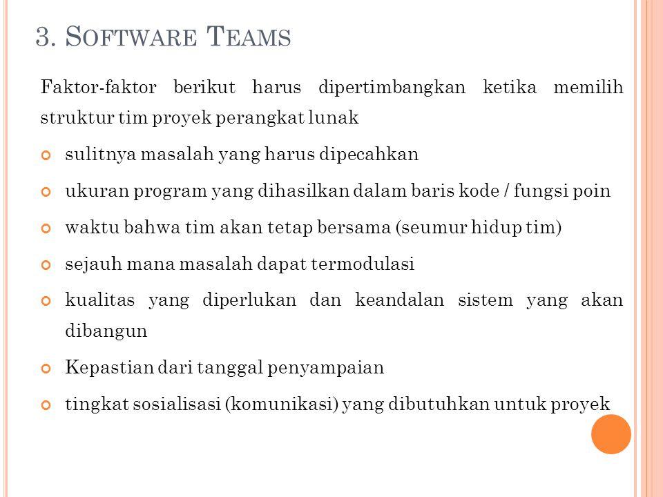 3. S OFTWARE T EAMS Faktor-faktor berikut harus dipertimbangkan ketika memilih struktur tim proyek perangkat lunak sulitnya masalah yang harus dipecah