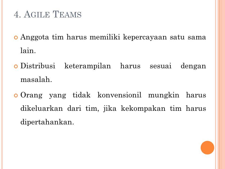 4.A GILE T EAMS Anggota tim harus memiliki kepercayaan satu sama lain.