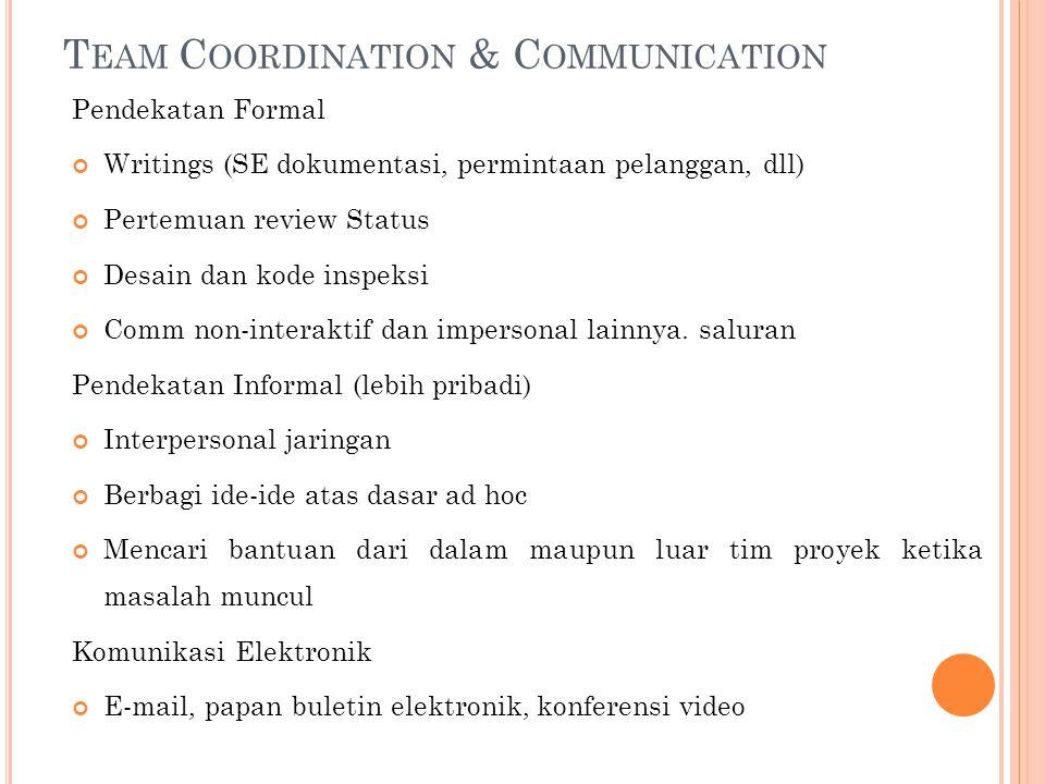 T EAM C OORDINATION & C OMMUNICATION Pendekatan Formal Writings (SE dokumentasi, permintaan pelanggan, dll) Pertemuan review Status Desain dan kode inspeksi Comm non-interaktif dan impersonal lainnya.