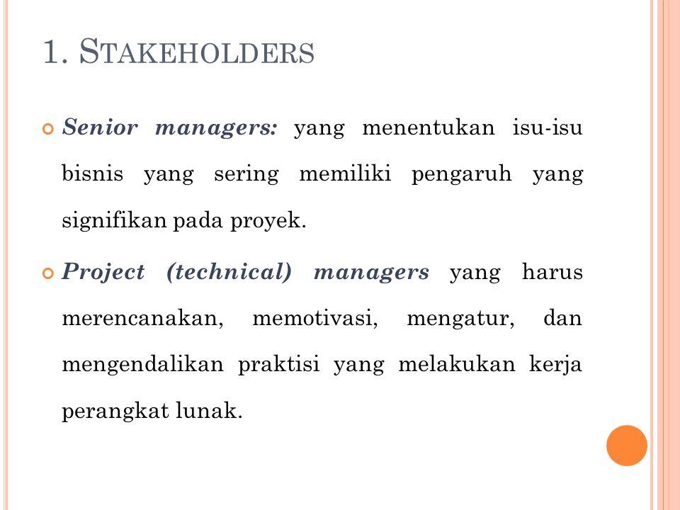 1. S TAKEHOLDERS Senior managers: yang menentukan isu-isu bisnis yang sering memiliki pengaruh yang signifikan pada proyek. Project (technical) manage