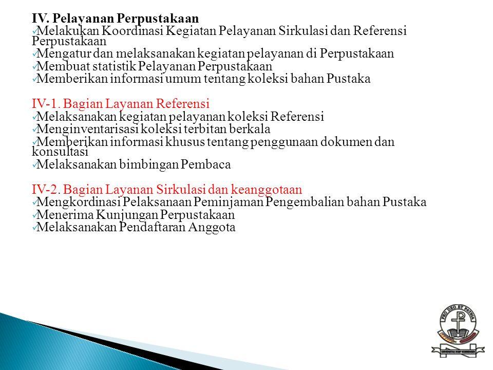 IV. Pelayanan Perpustakaan  Melakukan Koordinasi Kegiatan Pelayanan Sirkulasi dan Referensi Perpustakaan  Mengatur dan melaksanakan kegiatan pelayan