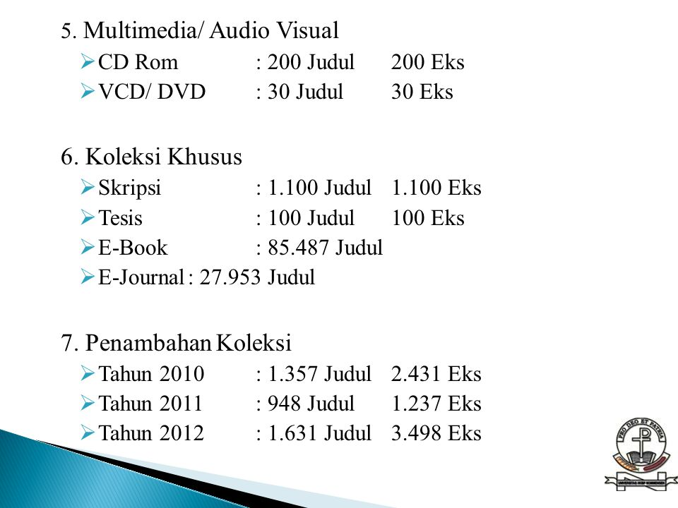 5.Multimedia/ Audio Visual  CD Rom: 200 Judul200 Eks  VCD/ DVD: 30 Judul30 Eks 6.
