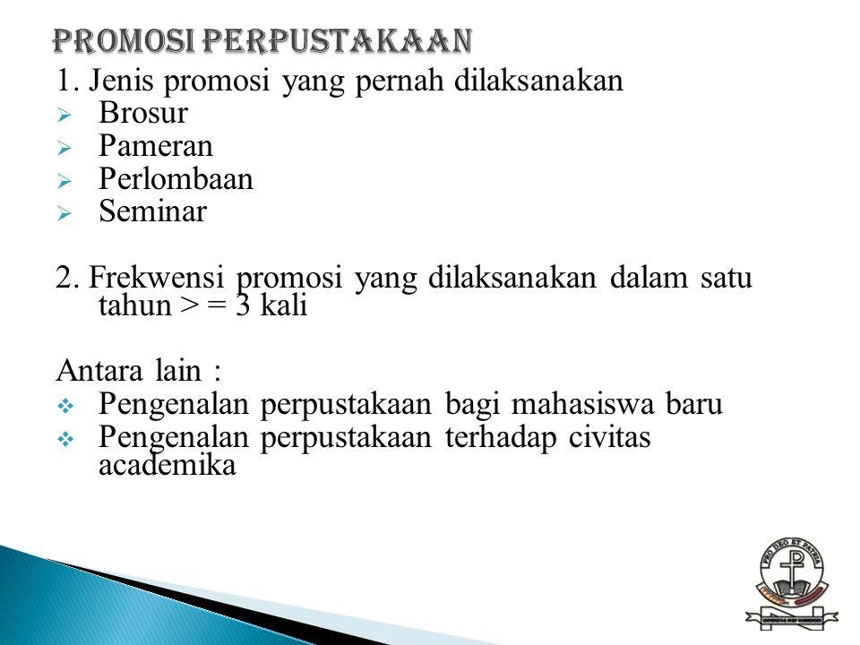 1. Jenis promosi yang pernah dilaksanakan  Brosur  Pameran  Perlombaan  Seminar 2. Frekwensi promosi yang dilaksanakan dalam satu tahun > = 3 kali