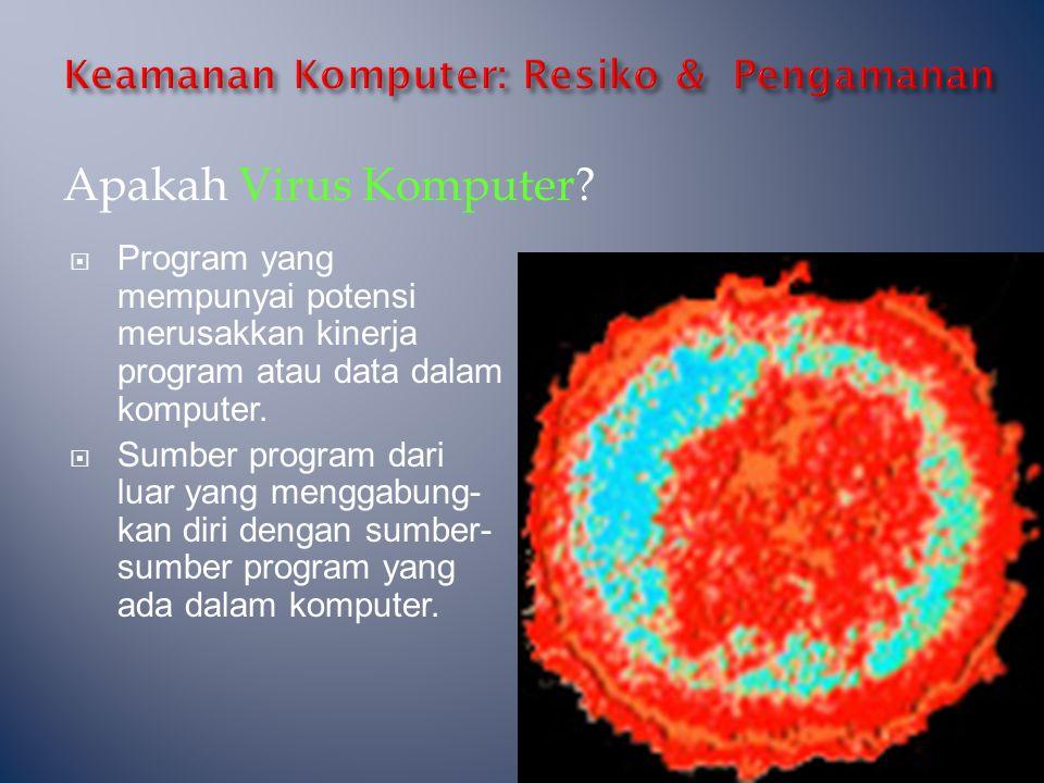 Apakah Virus Komputer?  Program yang mempunyai potensi merusakkan kinerja program atau data dalam komputer.  Sumber program dari luar yang menggabun