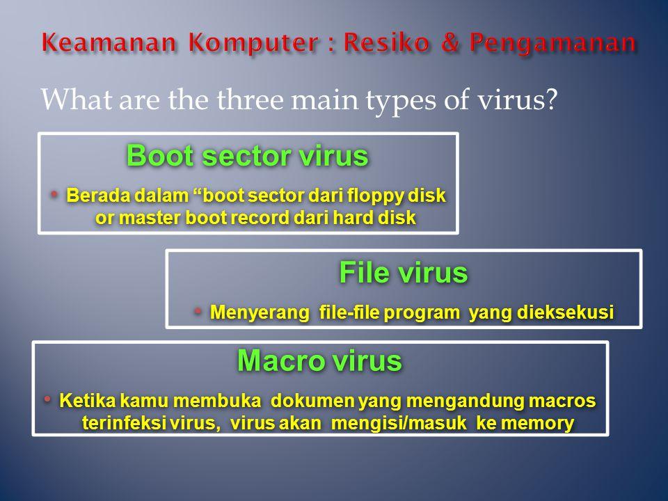 """Boot sector virus • Berada dalam """"boot sector dari floppy disk or master boot record dari hard disk Boot sector virus • Berada dalam """"boot sector dari"""