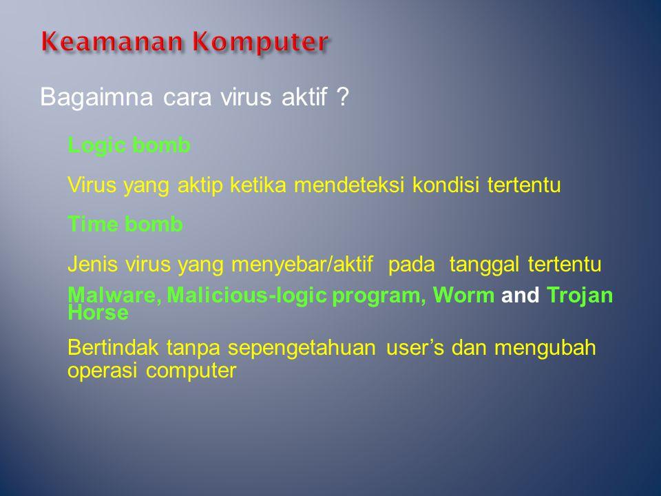 Bagaimna cara virus aktif ? Logic bomb Virus yang aktip ketika mendeteksi kondisi tertentu Time bomb Jenis virus yang menyebar/aktif pada tanggal tert