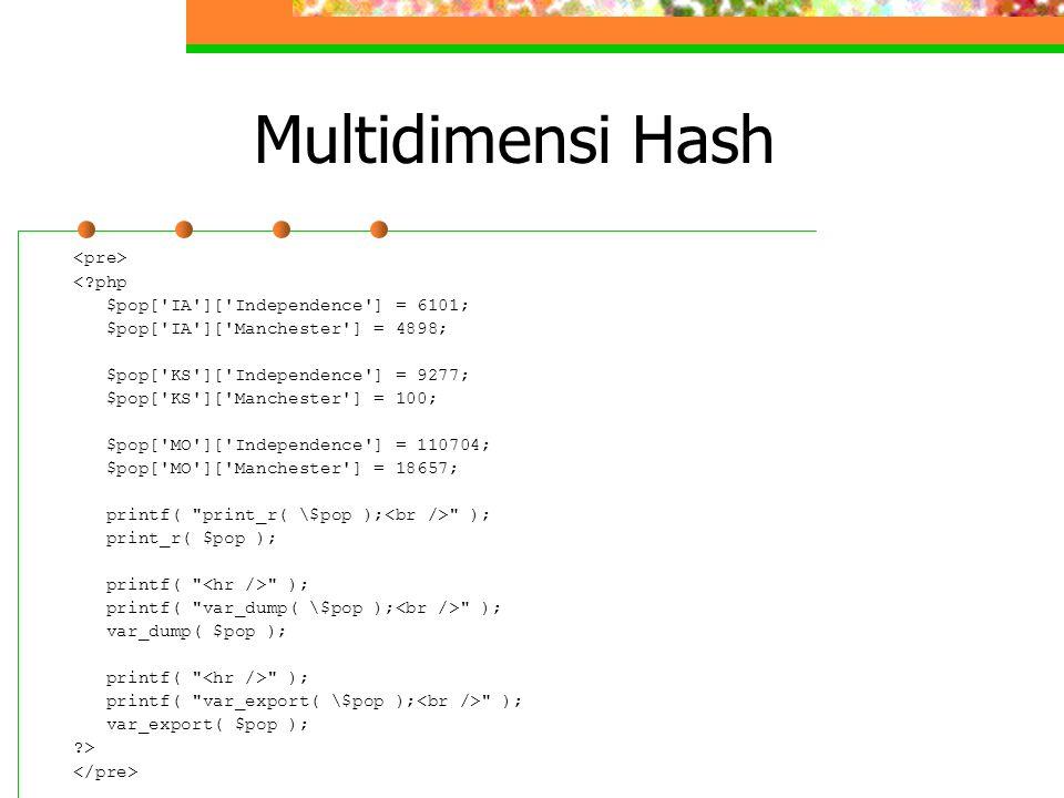 Multidimensi Hash <?php $pop['IA']['Independence'] = 6101; $pop['IA']['Manchester'] = 4898; $pop['KS']['Independence'] = 9277; $pop['KS']['Manchester'