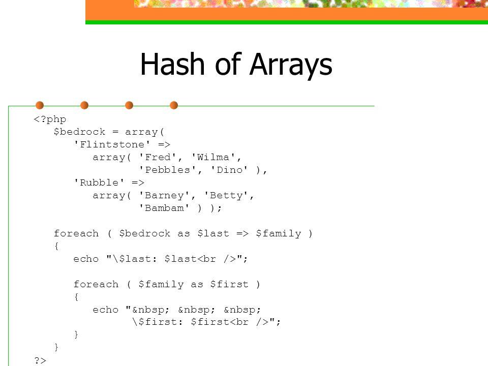 Hash of Arrays <?php $bedrock = array( 'Flintstone' => array( 'Fred', 'Wilma', 'Pebbles', 'Dino' ), 'Rubble' => array( 'Barney', 'Betty', 'Bambam' ) )
