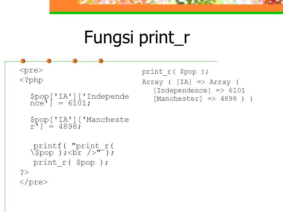 Fungsi print_r <?php $pop['IA']['Independe nce'] = 6101; $pop['IA']['Mancheste r'] = 4898; printf(