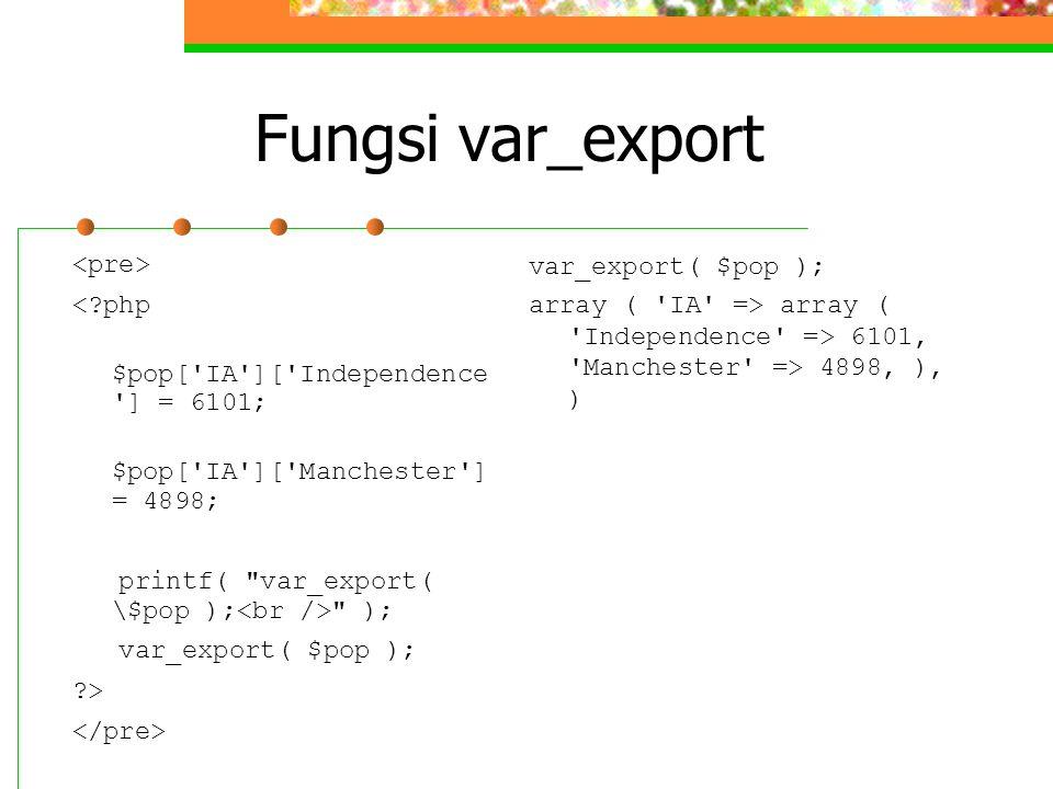 Fungsi var_export <?php $pop['IA']['Independence '] = 6101; $pop['IA']['Manchester'] = 4898; printf(