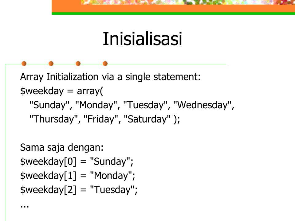 Inisialisasi Array Initialization via a single statement: $weekday = array(