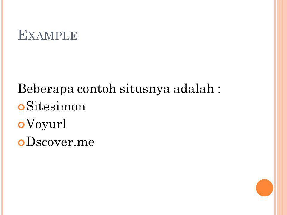E XAMPLE Beberapa contoh situsnya adalah : Sitesimon Voyurl Dscover.me