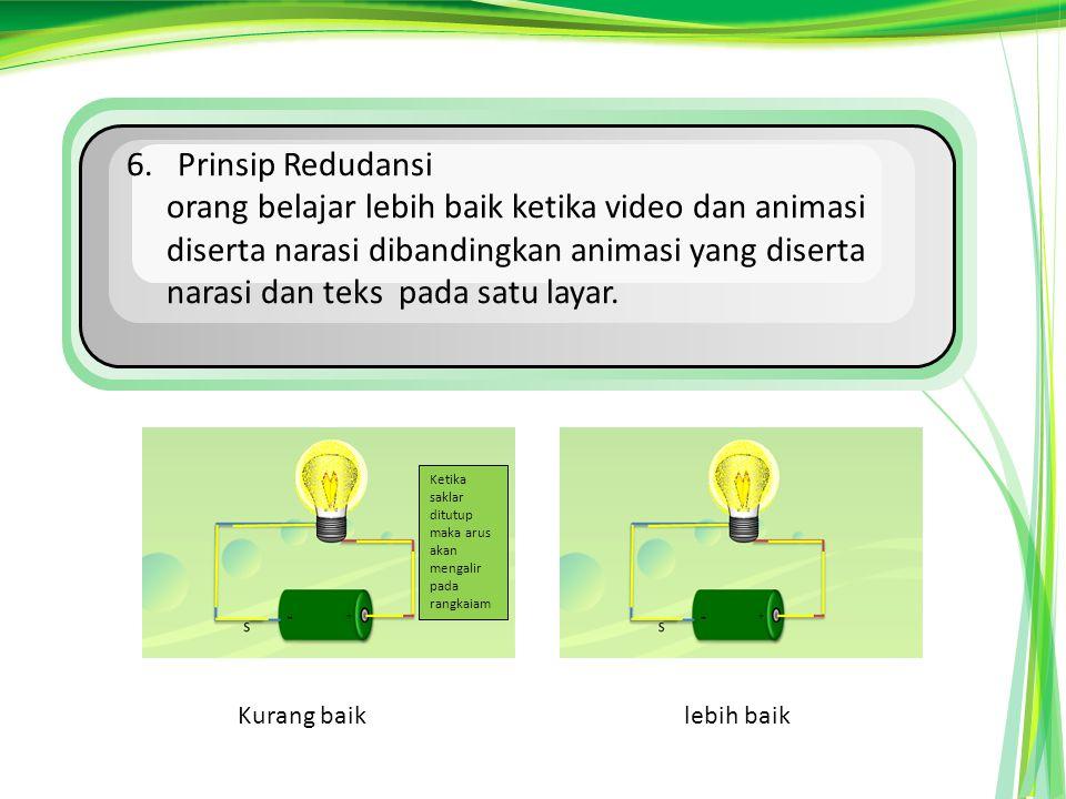 6. Prinsip Redudansi orang belajar lebih baik ketika video dan animasi diserta narasi dibandingkan animasi yang diserta narasi dan teks pada satu laya