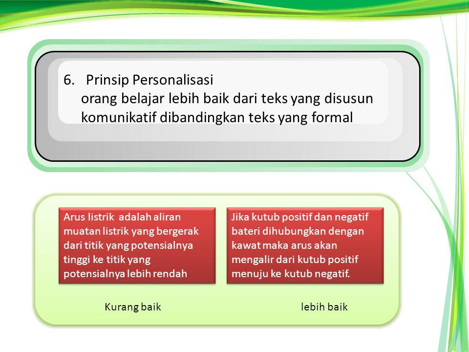 6. Prinsip Personalisasi orang belajar lebih baik dari teks yang disusun komunikatif dibandingkan teks yang formal Kurang baiklebih baik Arus listrik