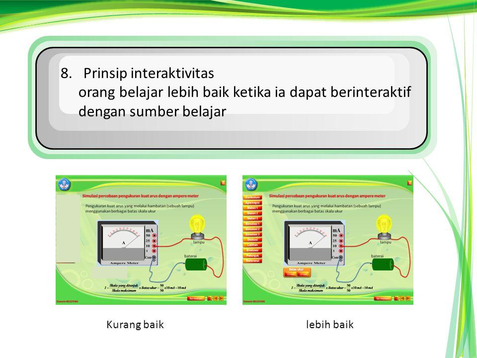 8. Prinsip interaktivitas orang belajar lebih baik ketika ia dapat berinteraktif dengan sumber belajar Kurang baiklebih baik