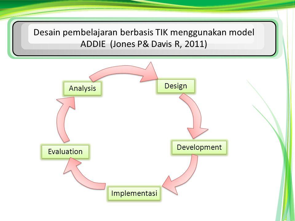 Desain pembelajaran berbasis TIK menggunakan model ADDIE (Jones P& Davis R, 2011) Analysis Design Development Implementasi Evaluation