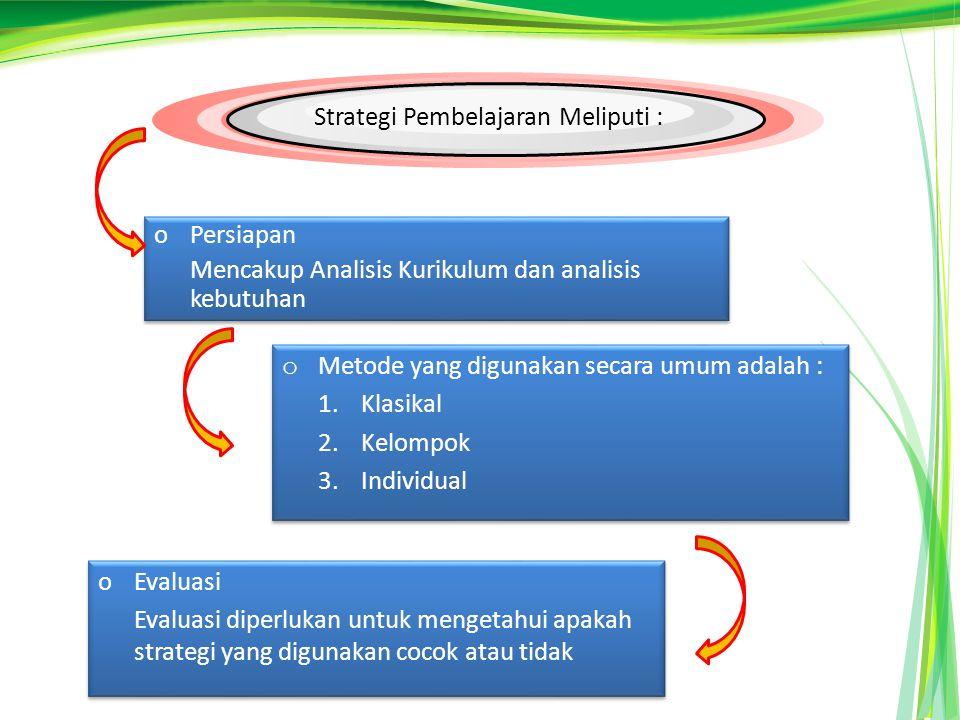 Strategi Pembelajaran Meliputi : oPersiapan Mencakup Analisis Kurikulum dan analisis kebutuhan oPersiapan Mencakup Analisis Kurikulum dan analisis kebutuhan o Metode yang digunakan secara umum adalah : 1.Klasikal 2.Kelompok 3.Individual o Metode yang digunakan secara umum adalah : 1.Klasikal 2.Kelompok 3.Individual oEvaluasi Evaluasi diperlukan untuk mengetahui apakah strategi yang digunakan cocok atau tidak oEvaluasi Evaluasi diperlukan untuk mengetahui apakah strategi yang digunakan cocok atau tidak